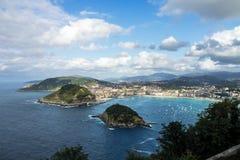 Vue de Donostia - de San Sebastian de Mont Igueldo, pays Basque, Espagne photographie stock