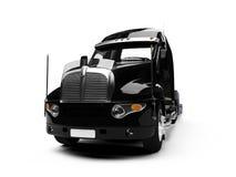 Vue de dos de camion de transporteur de véhicule Images stock