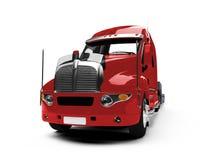 Vue de dos de camion de transporteur de véhicule Image stock