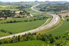 Vue de, Eix Transversal de Catalunya, autoroute de Montfalco Murallat, photo libre de droits