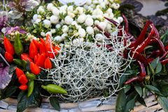 Vue de face de bouquet coloré d'automne avec les fleurs fraîches et l'herbe à l'arrière-plan de thanksgiving de panier photographie stock