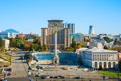 Vue de face carrée de l'indépendance, Ukraine Photos stock