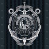 Vue de face de crâne dans le cadre central de corde avec les ancres croisées et l'épée verticale Label marin héraldique de cru su illustration libre de droits