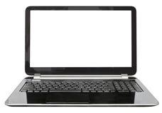Vue de face d'ordinateur portable avec l'écran coupé Image stock