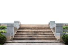 Vue de face d'un escalier gris avec mener de clôture en métal à  Photographie stock