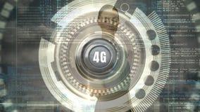 Vue de face d'une femme d'affaires tenant le bouton 4g illustration de vecteur