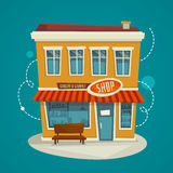 Vue de face de bâtiment de boutique, illustration de bande dessinée de vecteur Photo stock