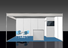 Vue de face de base de la cabine 3D de support d'exposition Image libre de droits