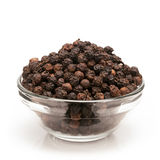 Vue de face de bol de poivre noir organique Photo libre de droits