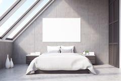 Vue de face de chambre à coucher de grenier Photos stock