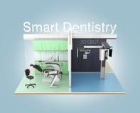 Vue de face de clinique dentaire avec le texte 'd'art dentaire futé' Image stock