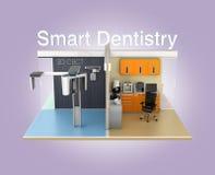 Vue de face de clinique dentaire avec le texte 'd'art dentaire futé' Photographie stock libre de droits