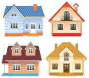 Vue de face de 4 cottages différents Image libre de droits