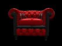 Vue de face de fauteuil lustré rouge de cru Images libres de droits