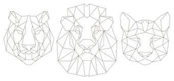 Vue de face de l'icône triangulaire principale animale illustration de vecteur