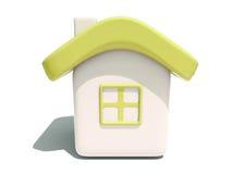 Vue de face de la maison 3d jaune simple Photo libre de droits