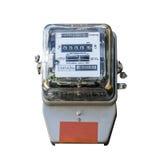 Vue de face de mètre électrique d'isolement sur le blanc Photographie stock libre de droits