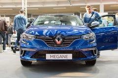 Vue de face de nouvelle voiture de Renault Megane GT sur le salon automobile de Belgrade photos stock