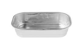 Vue de face de plateau rectangulaire de papier d'aluminium d'isolement sur le dos de blanc Image libre de droits