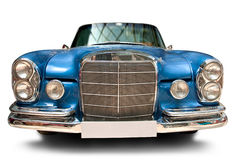 Vue de face de véhicule classique avec la plaque minéralogique blanc