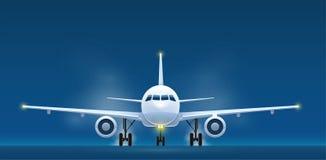 Vue de face des avions de transport de passagers d'atterrissage illustration de vecteur