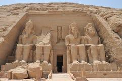 Vue de face du temple d'Abu Simbel image libre de droits