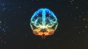 Vue de face de modèle du cerveau 3D en nuage des données numériques dans l'espace Images stock