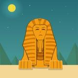 Vue de face, sphinx à la nuit, paysage de vecteur Photos stock
