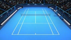 Vue de face supérieure de perspective bleue de cour de tennis Photographie stock