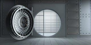 Vue de face vide énorme ouverte de chambre forte de banque illustration de vecteur