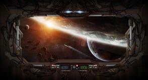 Vue de fenêtre de l'espace et des planètes d'une station spatiale Image stock