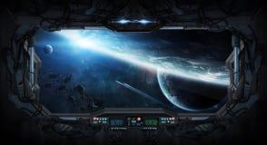 Vue de fenêtre de l'espace et des planètes d'une station spatiale Photos stock