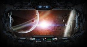Vue de fenêtre de l'espace et des planètes d'une station spatiale Images stock