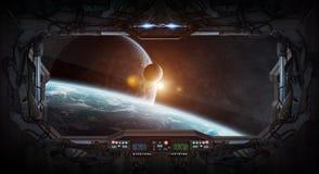 Vue de fenêtre de l'espace et des planètes d'une station spatiale Photo libre de droits