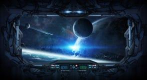 Vue de fenêtre de l'espace et des planètes d'une station spatiale Photo stock