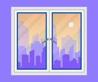Vue de fenêtre et de ville Silhouette d'horizon de ville de soirée Horizontal urbain moderne Milieux de paysage urbain Vecteur pl illustration libre de droits