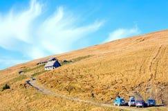 Vue de ferme de montagne d'automne Photographie stock libre de droits