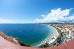 Vue de Fisheye de côte à Nice Image stock