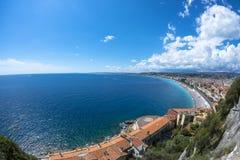 Vue de Fisheye de côte à Nice Photographie stock