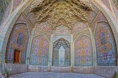 Vue de fisheye de décoration de Nasir al-Mulk Mosque Photo stock