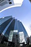 Vue de fisheye de gratte-ciel de ville images stock