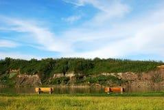 Vue de fleuve en août Photo stock