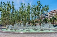 Vue de fontaine en parc à Perpignan, France Image stock