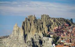 Vue de formations de ville et de roche de La Paz images stock
