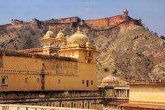 Vue de fort de Jaigarh de la cour d'Amber Fort, Ràjasthàn Images libres de droits