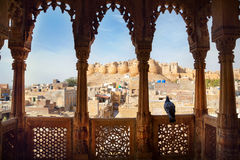 Vue de fort de Jaisalmer de Haveli Images stock