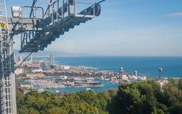 Vue de funiculaire de ville de Barcelone et littoral de l'Espagne photographie stock libre de droits