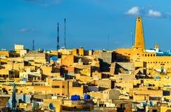 Vue de Ghardaia, une ville dans la vallée de Mzab Patrimoine mondial de l'UNESCO en Algérie image stock