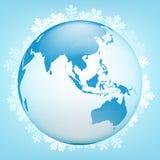 Vue de globe de l'Asie dans le vecteur de saison d'hiver Photo stock