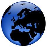 Vue de globe - l'Europe Images libres de droits